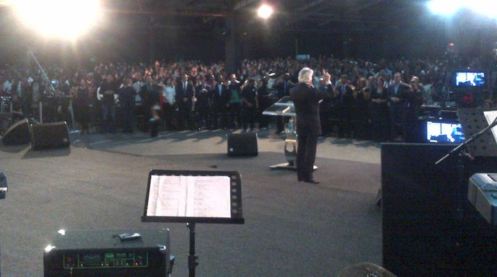 """""""This is your day for a miracle!"""" Pastor Benny declares on February 24 to the crowd at River Ministries in East London. Overflow crowds, miraculous healings, and salvations marked all of the events."""