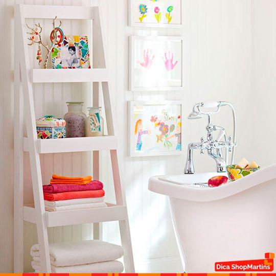 decoracao banheiro diy:DIY Ladder Shelf Bathroom