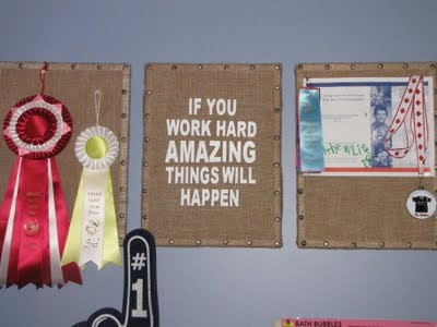 like the nailhead border on these burlap-covered dollar store bulletin boards