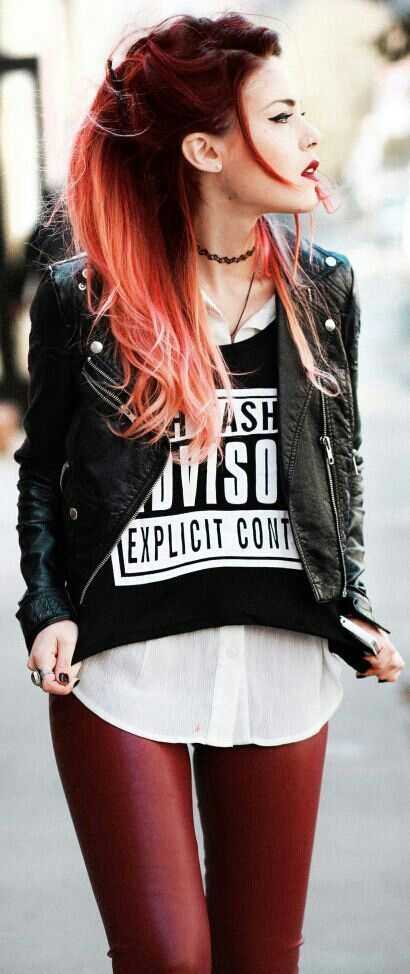 Concert outfit   Black leather jacket, white button down, band shirt, red pants