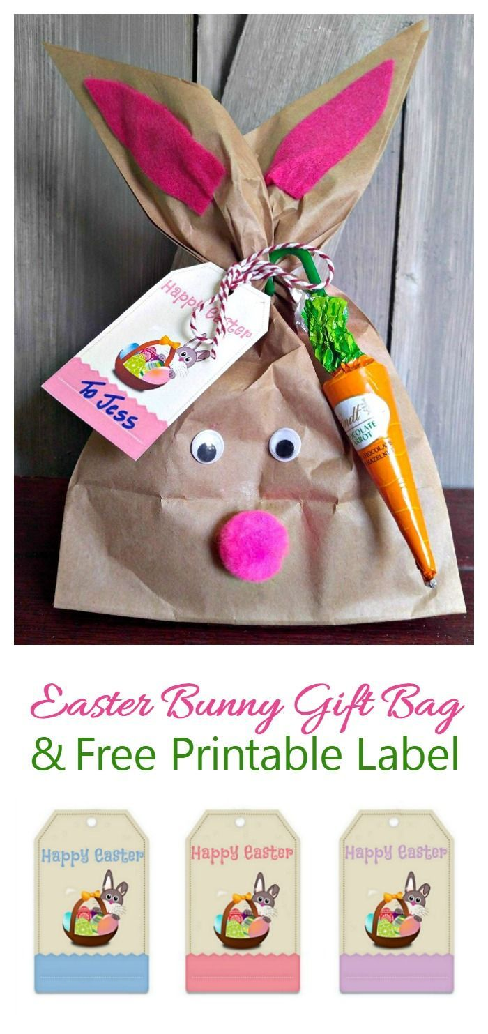 This Easter Bunny gift bag takes only 15 minutes to make and cost me less than $2. You can also print out free labels to add to the bag or other Easter gifts.