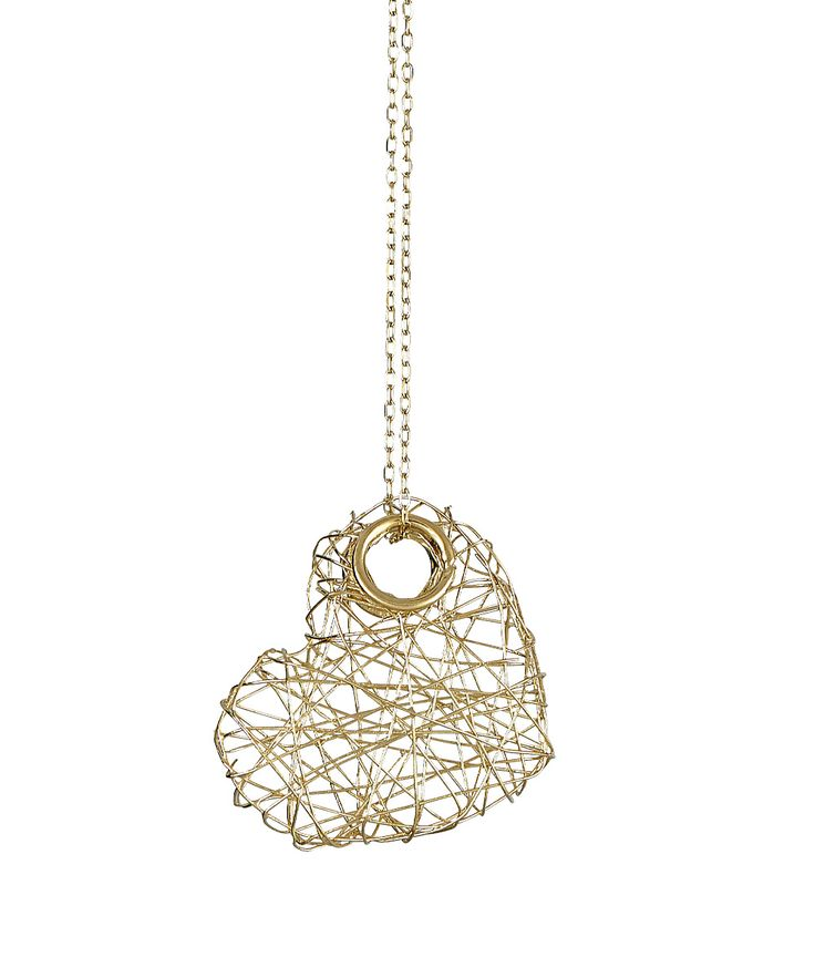 14k Yellow Gold Wire Heart Pendant Necklace   zulily