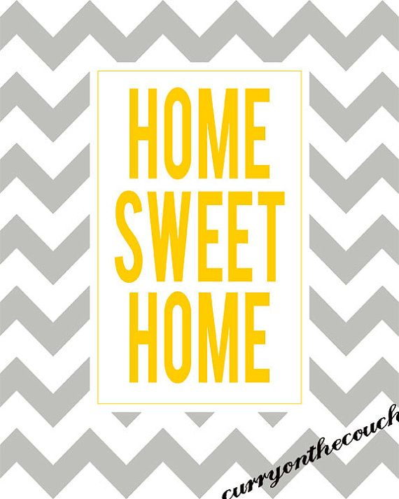 SALE 50 % OFF Home Sweet Home yellow and grey by curryonthecouch