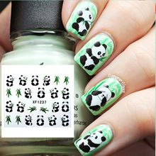 1 Sheet Cute Panda Vivid Feather Pattern Design Nail Art Water Decals Transfers Sticker