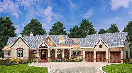 Stone, siding and cedar shakes blend beautifully together to create a great look for this rustic ranch style home plan. The full front porch is ideal for peaceful evenings. Inside, the heart of the home you'll find an open layout featuring the combined spaces of the 2-story great room, casual dining room and .kitchen.