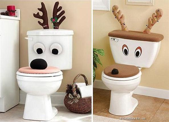 Porque el baño también merece una decoración navideña, estos simpáticos renos para adornar el inodoro. Foto: www.collectionsetc.com