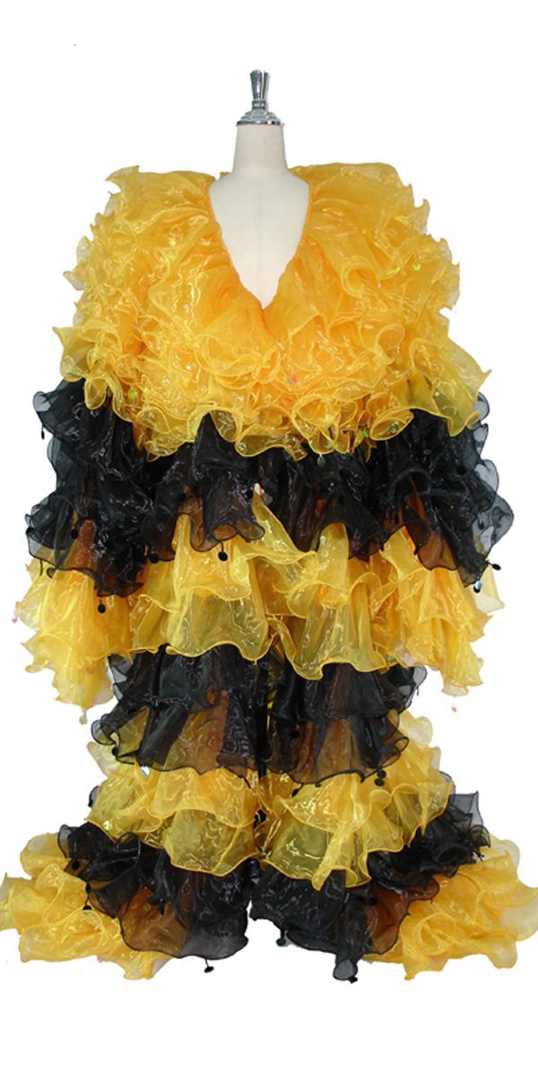 Long Organza Ruffle Coat with Long Sleeves and Highlight Sequins in Yellow and Black.