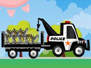 911 Police Truck a cargo delivery game. Drive this police truck and deliver all the police items to the police station. Race as quickly as you can with this funny car to score the maximum points. There are 12 exciting levels, all with different items to deliver. Make sure you are not driving to fast over the bumpy roads. The first few levels are quite easy, but it will get more difficult after each level. A fun cargo delivery truck game!