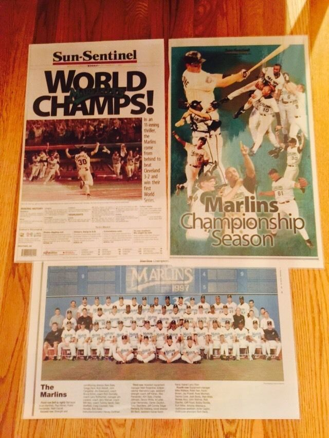 1997 World Series Champions Florida Marlins Newspaper Pages Laminated (3)
