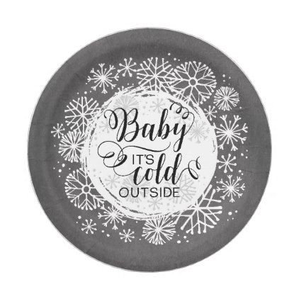 """Chalkboard Baby It's Cold Outside 7"""" Paper Plate - winter gifts style special unique gift ideas"""