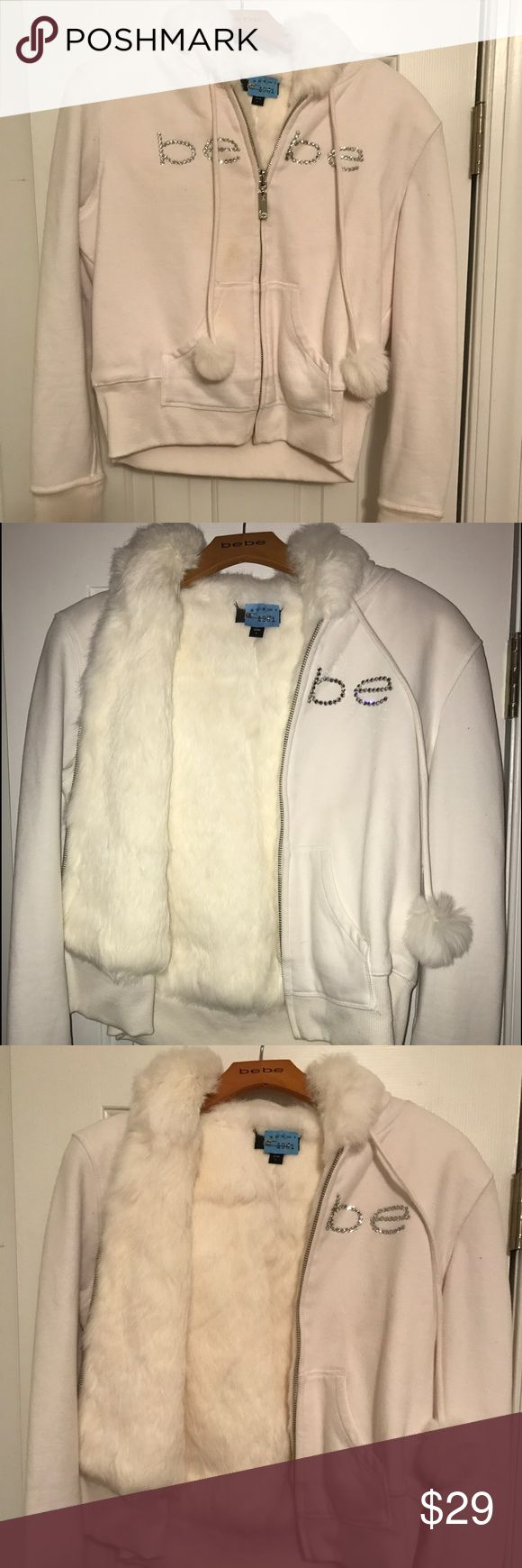 Bebe embellished white fur jacket w/ hood  sz: L Bebe embellished white fur jacket w/ hood sz: L. The inside of the jacket and hood is lined in fur. Only worn once and had dry cleaned. Super comfy and nice for a spring day! Make an offer ❤ bebe Jackets & Coats