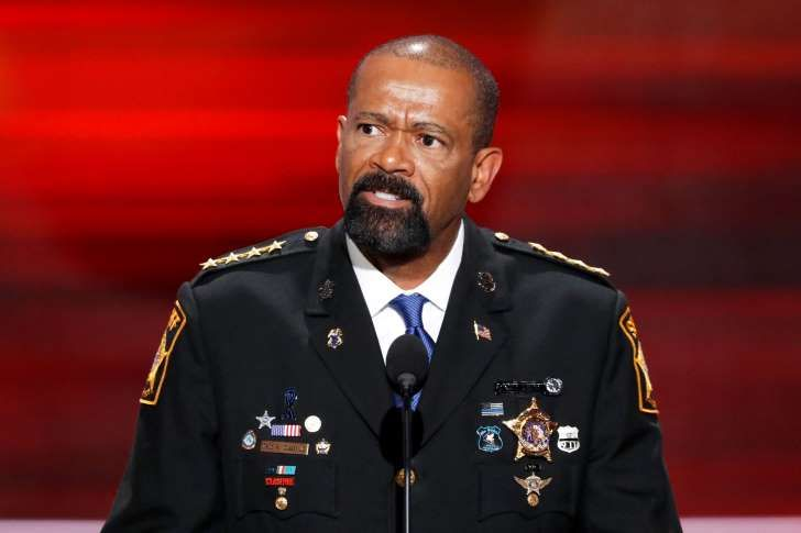FILE - In this July 18, 2016 file photo, David Clarke, Sheriff of Milwaukee County, Wis., speaks during the opening day of the Republican National Convention in Cleveland. A woman who was pregnant while detained at the Milwaukee County jail is alleging in a lawsuit against the sheriff that she was shackled while she was in labor in 2013. The federal lawsuit filed Tuesday, March 14, 2017, seeks class-action status, claiming there are about 40 other women who had a similar experience since…