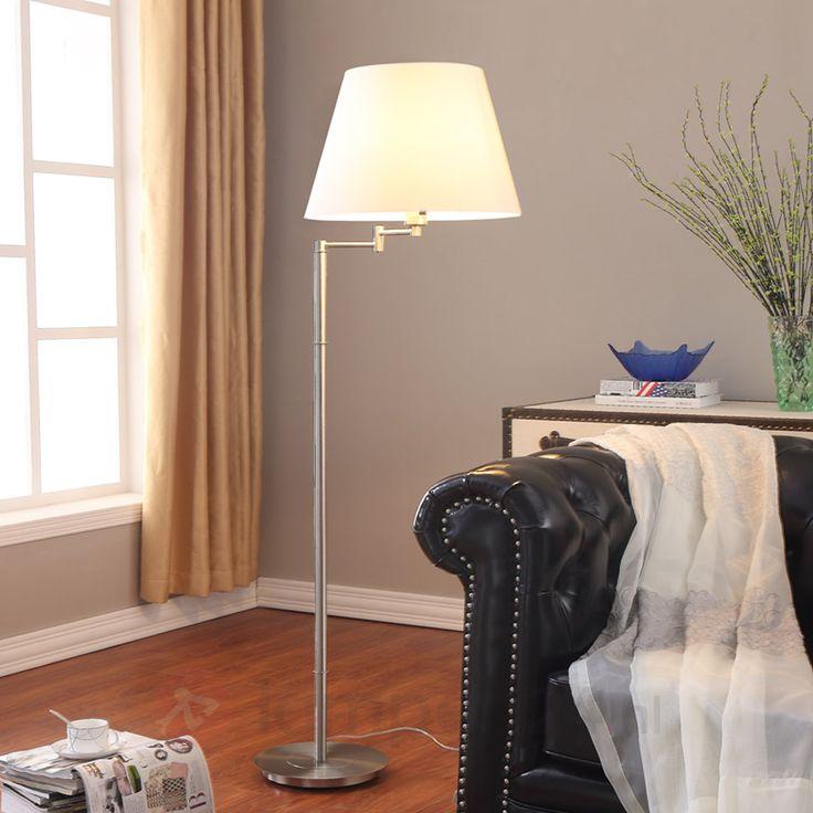 Aantrekkelijke vloerlamp Pola m witte stoffen kap 9620654