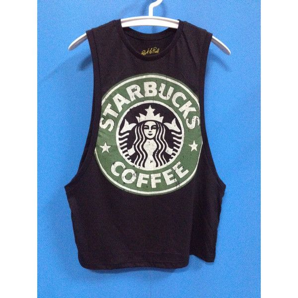 Starbucks shirt starbucks tank Top Tunic Starbucks shirt women starbucks coffee shirt - Free Size ($15) found on Polyvore featuring tops, no sleeve shirts, crewneck shirt, sleeve shirt, sleeveless collared shirt and cotton collared shirt