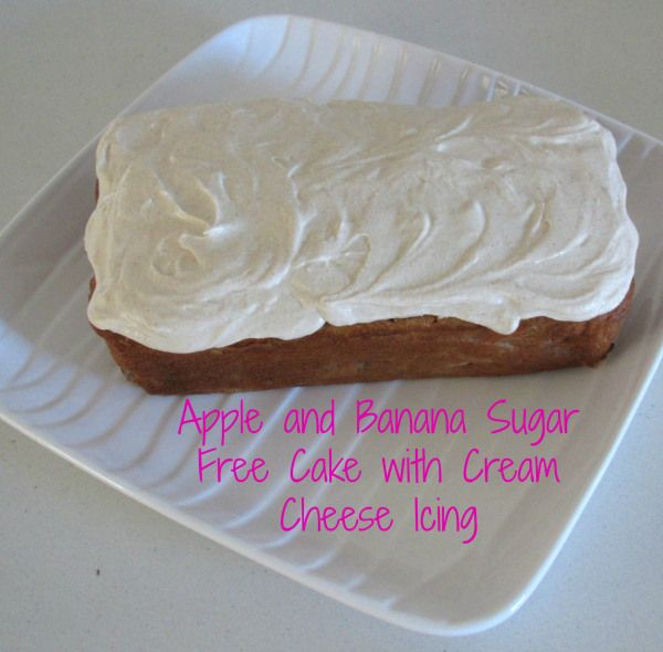 Who doesn't want to eat cake every day?! Here is the perfect excuse...sugar free Apple and Banana cake with cream cheese icing. By The Love of Cake Blog. Visit www.theloveofcake... for all the details.