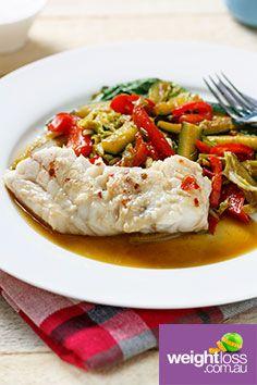 Steamed Chinese Fish & Sauté Vegetables. #HealthyRecipes #DietRecipes #WeightLossRecipes weightloss.com.au