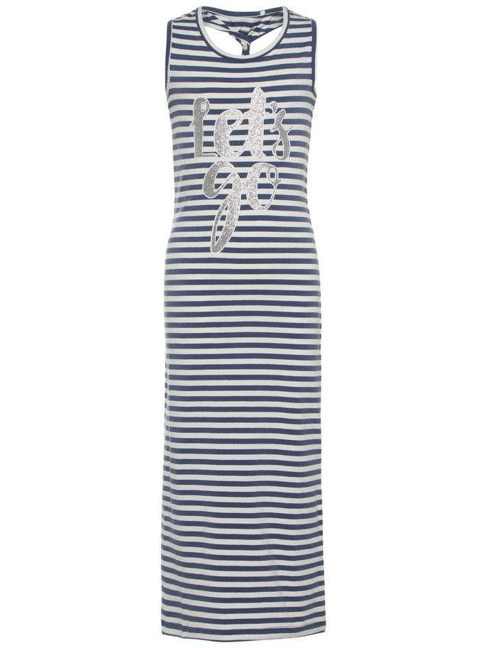 608f2573f085ad Dit is een lang zomer kleedje met een ronde hals en zonder mouwen. Het  kleedje