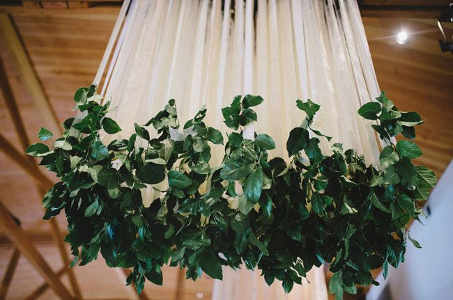 ribbon and greenery chandelier