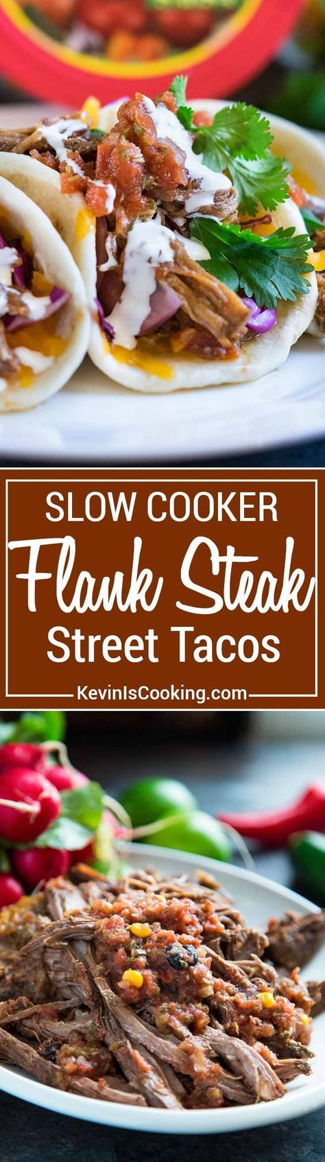I make thisSlow Cooker Flank Steak with fresh onion, garlic, cilantro and salsa. Beyond flavorful, can be used intacos or enchiladas. Your family will love these!