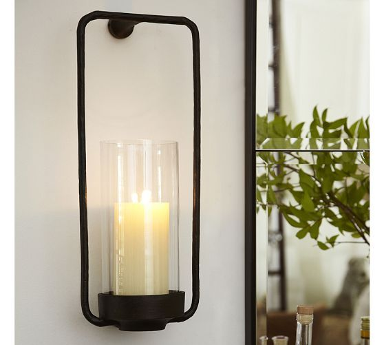 rectangle iron u0026 glass candle sconce pottery barn