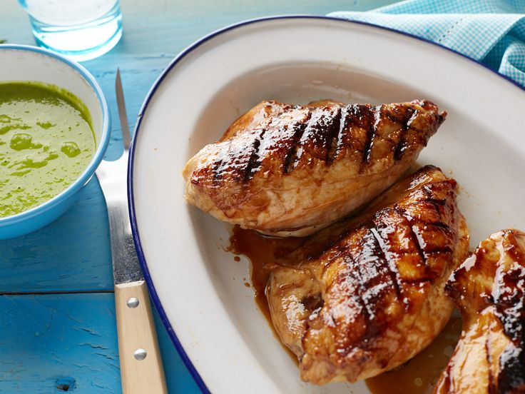 Grilled Honey Glazed Chicken with Green Pea and Mint Sauce Recipe : Bobby Flay : Food Network - FoodNetwork.com