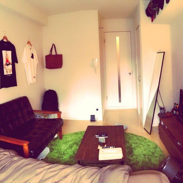 Masayaさんの、リビング,Tシャツ,ソファ,ワンルーム,一人暮らし,カフェ風,1人暮らし,ローテーブル,1K,コーヒーテーブル,男,ラグ 緑,メンズ部屋,茶色が好き,7帖,のお部屋写真