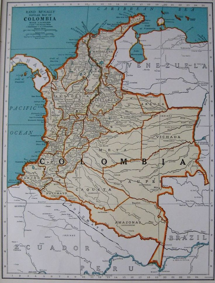 South America Map Borders%0A      Antique Map of COLOMBIA Map South America Map Gallery Wall Art