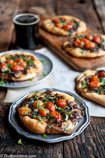 Porter Caramelized Onion Flatbreads with Smoked Gouda and Roasted Tomatoes from The Beeroness