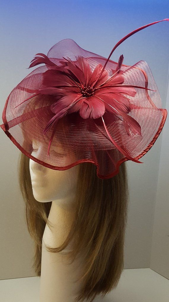 77b78d85219c6 Fascinator Hat with Headband, Burgundy Feather Fascinator, Wedding Hat, Tea  Party Hat, British Hat, Derby Hat, Women's Church Hat, Fancy Hat