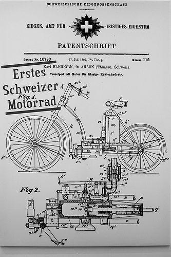 «Alpenknattern», Motorrad-Ausstellung in Flims, Patentschrift von 1895