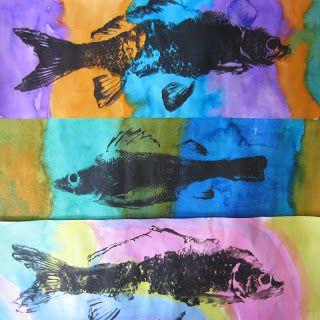 Gyotaku fish painting