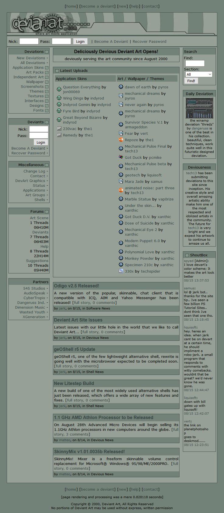 Deviant Art website in 2000