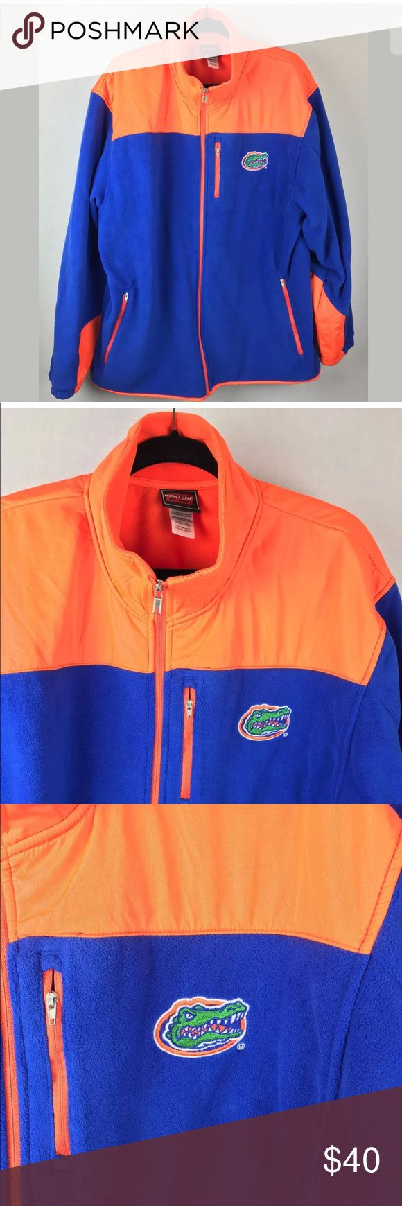 """Florida Gators UF genuine stuff men's jacket XL Genuine Stuff Collegiate Florida Gators Full Zipper micro fleece nylon jacket Mens XL  From my husband's closet He is original owner He wore it once and then our son decided to go a rival school so hubby feels bad about wearing it now We do bleed orange and blue but need to tone it down for the next few years. (Go Gators)  Excellent condition. under arms across the back 27"""" Shoulder to hem down the back  31"""" genuine stuff Jackets & Coats…"""