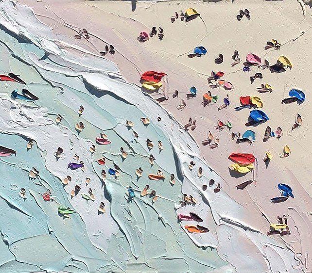 'The Beach' by painter Sally West US. 'Пляж' работа в исполнении американского художника Салли Вест.  #иллюстрация #живопись #искусство #графика #холст #масло #арт #выставки #art #illustration #pencil #artsy #drawing #contemporaryart #draw #oil #sketchbook #graphic #exhibitions #timetoart