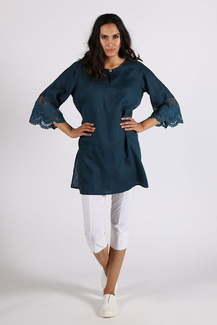 Valia - Lace Top By Valia In Teal