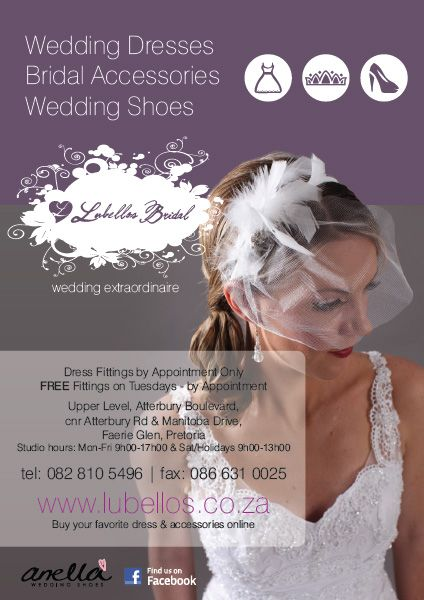 Visit Lubellos for beautiful wedding dresses, accessories and wedding shoes www.lubellos.co.za