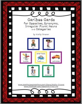 Cariboo Cards for Opposites, Synonyms & Irregular Plural Nouns