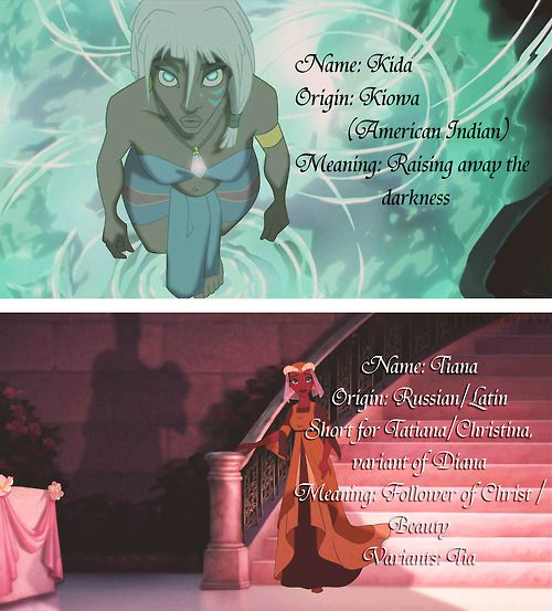 Meaning of Kida and Tiana. I particularly like the meaning of Kida's name