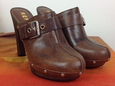 Report Shoes - High Heel Clog - Slip on Leather Size 9  | eBay