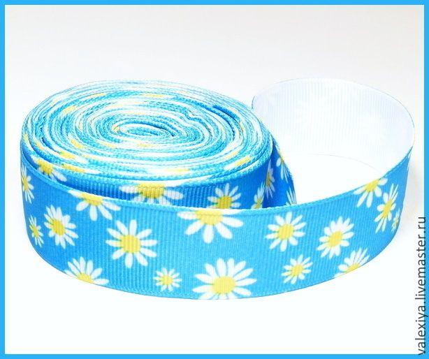 """Купить Лента декоративная репсовая цветная """"Ромашка голубая."""" - лента, ленты, тесьма"""