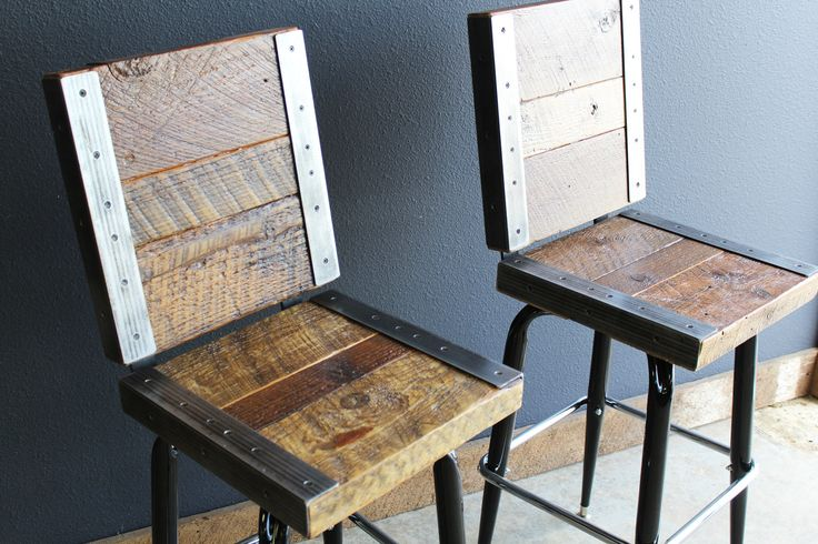 2 Industrial stools with backs made with old reclaimed barn wood by MtHoodWoodWorks on Etsy