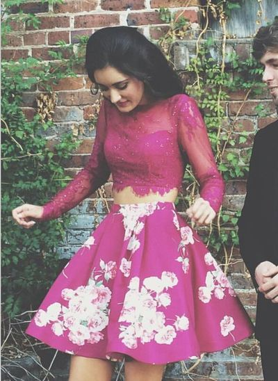 two pieces prom dresses, short prom dresses, floral printed prom dresses, long sleeves prom dresses,YY215