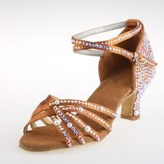 Femmes Satin Talons Latin Salle de bal Salsa Mariage Fête avec Strass Lanière de cheville Chaussures de danse