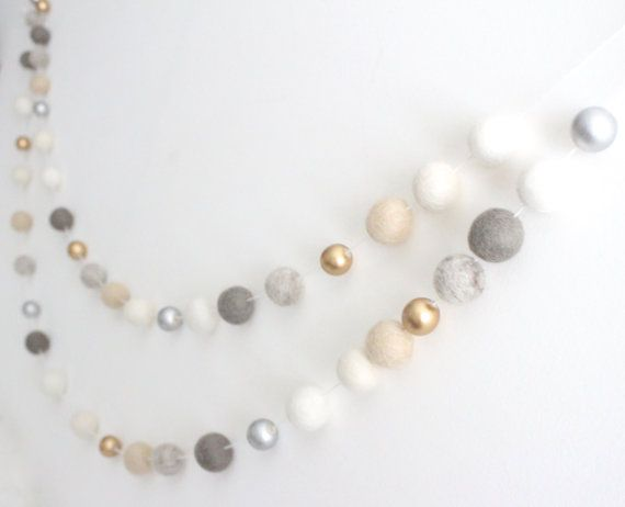 Neutral Luxe Felt Ball Garland- Silver Gold Cream Banner- Mantle Decor- Pom Pom garland