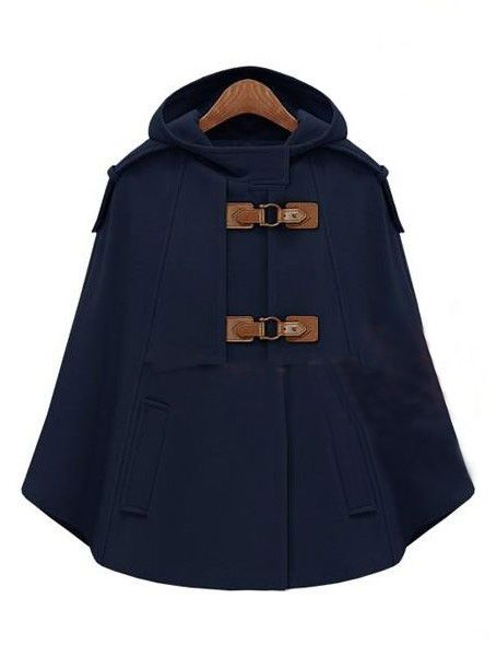 Navy Hooded Buckle Strap Pockets Cape Coat - Sheinside.com: