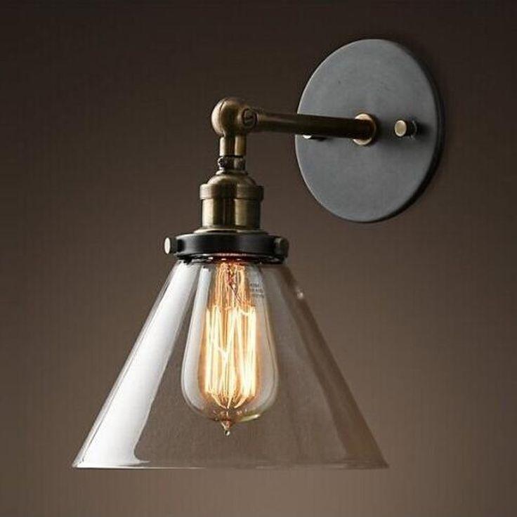 fuloon cr atif r tro industriel applique lampe murale abat jour de parapluie en verre style. Black Bedroom Furniture Sets. Home Design Ideas