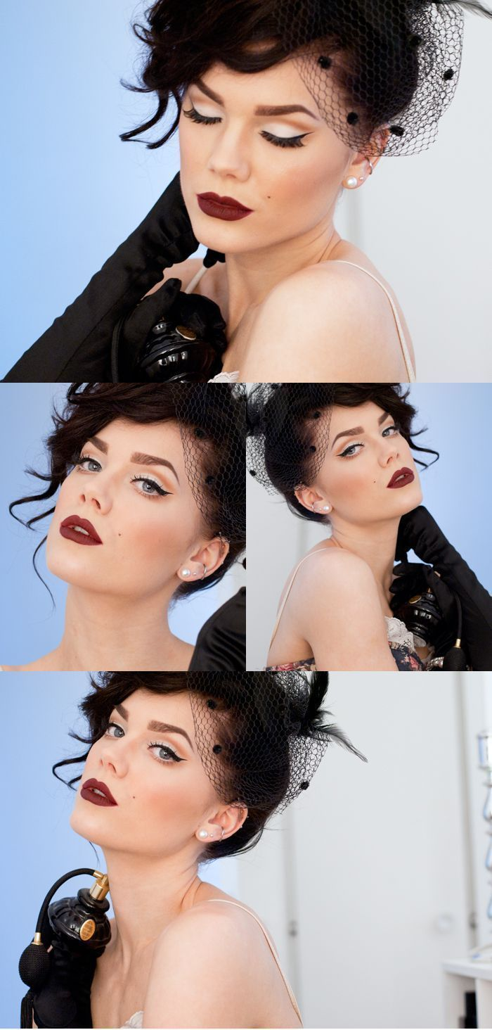 Light shadow and bold winged liner with a deep red lip - Linda Hallberg #wingedlinerredlips