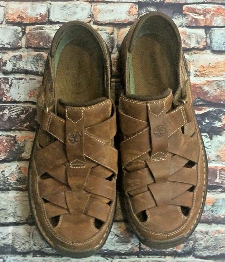 Timberland Mens Sz 10.5 W Brown Closed Toe Sandals leather strapped thick sole #Timberland #Strap