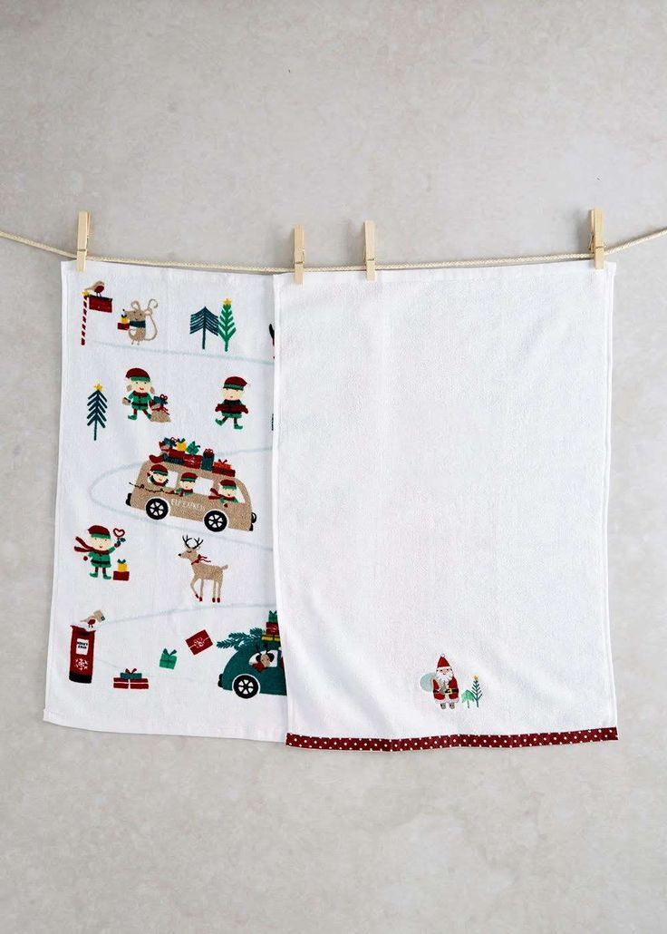 2 Pack Novelty Christmas Tea Towels (60cm x 40cm) View 1