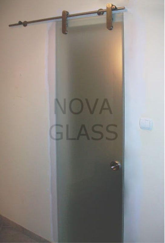 Συρόμενη γυάλινη πόρτα σατινέ 10mm 80Χ200